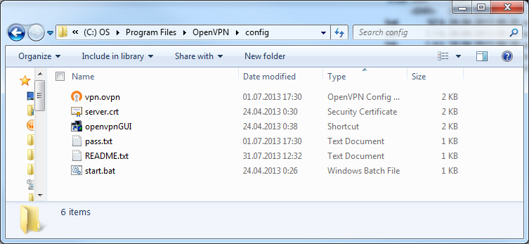 folder for OpenVPN config